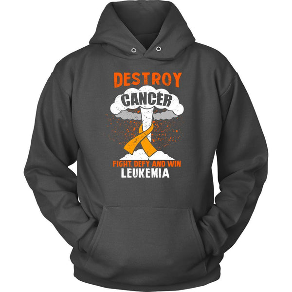 Destroy Cancer Fight Defy Win Leukemia Awareness Cool Unisex Hoodie-T-shirt-Unisex Hoodie-Grey-JoyHip.Com
