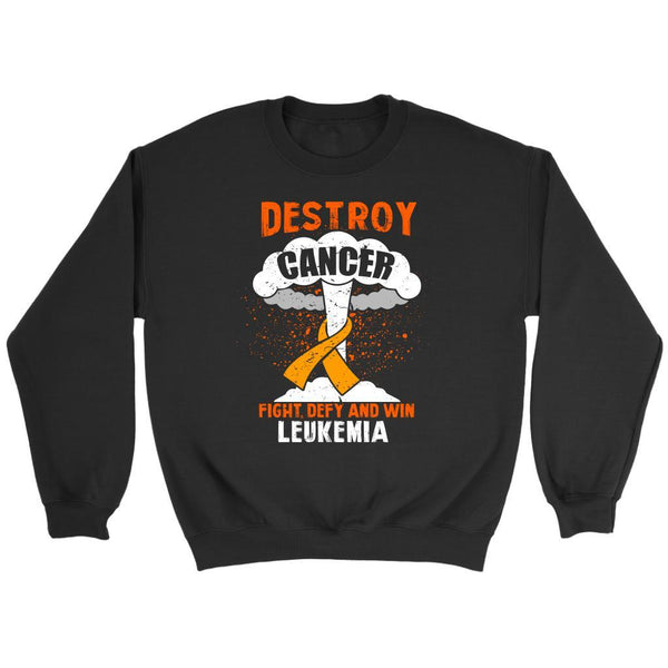 Destroy Cancer Fight Defy Win Leukemia Awareness Unisex Sweatshirt-T-shirt-Crewneck Sweatshirt-Black-JoyHip.Com