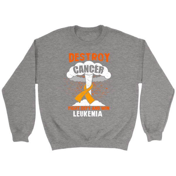 Destroy Cancer Fight Defy Win Leukemia Awareness Unisex Sweatshirt-T-shirt-Crewneck Sweatshirt-Grey-JoyHip.Com