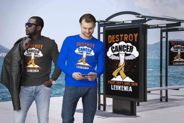 Destroy Cancer Fight Defy Win Leukemia Awareness Unisex Sweatshirt-T-shirt-JoyHip.Com