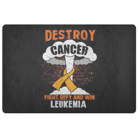Destroy Cancer Fight Defy Win Leukemia Cancer Awareness 18X26 Indoor Door Mat-Doormat-Black-JoyHip.Com