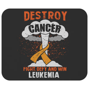Destroy Cancer Fight Defy & Win Leukemia Cancer Awareness Gifts Idea Mouse Pad-Mousepads-Black-JoyHip.Com
