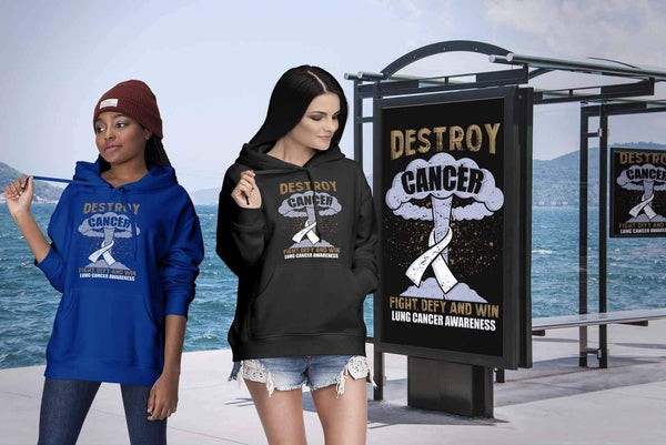 Destroy Cancer Fight Defy Win Lung Cancer Awareness Cool Gift Ideas Hoodie-T-shirt-JoyHip.Com