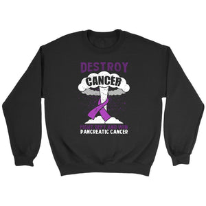 Destroy Cancer Fight Defy Win Pancreatic Cancer Awareness Cool Gift Idea Sweater-T-shirt-Crewneck Sweatshirt-Black-JoyHip.Com