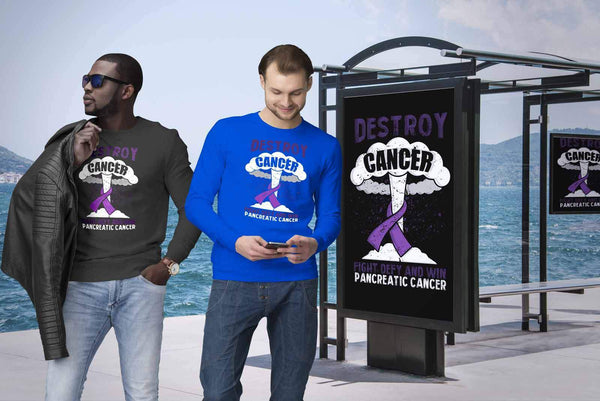 Destroy Cancer Fight Defy Win Pancreatic Cancer Awareness Cool Gift Idea Sweater-T-shirt-JoyHip.Com
