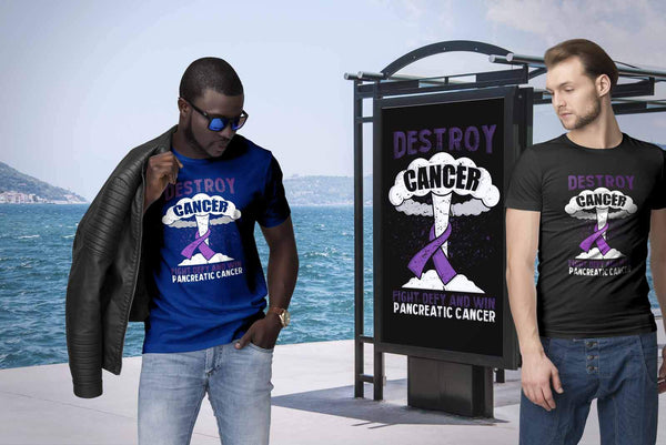 Destroy Cancer Fight Defy Win Pancreatic Cancer Awareness Cool Gift Ideas TShirt-T-shirt-JoyHip.Com