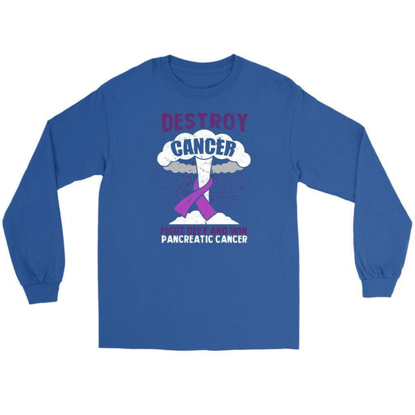 Destroy Cancer Fight Defy Win Pancreatic Cancer Awareness Gift Ideas Long Sleeve-T-shirt-Gildan Long Sleeve Tee-Royal Blue-JoyHip.Com
