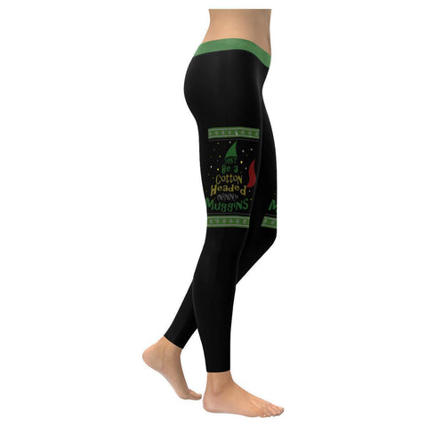 Dont Be A Cotton Headed Ninny Muggins Funny Gift Ugly Christmas Womens Leggings-XXS-Black-JoyHip.Com