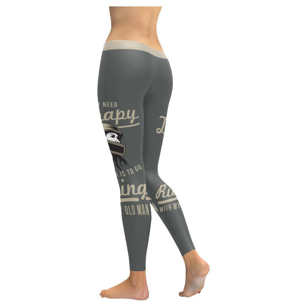 Dont Need Therapy All I Need Is Riding With My Old Man Motorcycle Women Leggings-JoyHip.Com