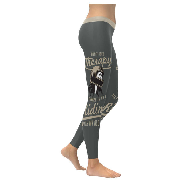 Dont Need Therapy All I Need Is Riding With My Old Man Motorcycle Women Leggings-XXS-Grey-JoyHip.Com