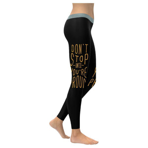 Dont Stop Until Youre Proud Inspirational Motivational Quotes Womens Leggings-XXS-Black-JoyHip.Com