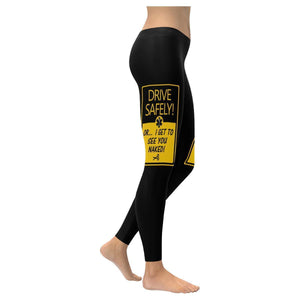 Drive Safely Or I Get To See You Naked Funny Paramedic EMT UPF40 Womens Leggings-XXS-Black-JoyHip.Com