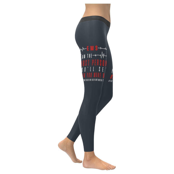 EMS I Am The 1st Person You See After Saying Hold My Beer & Watch This Leggings-XXS-Navy grey-JoyHip.Com