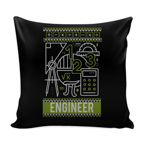 Engineering Geek Nerd Engineer Festive Funny Ugly Christmas Holiday Sweater Decorative Throw Pillow Cases Cover(4 Colors)-Pillows-Black-JoyHip.Com