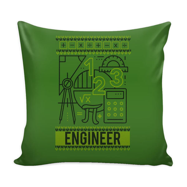 Engineering Geek Nerd Engineer Festive Funny Ugly Christmas Holiday Sweater Decorative Throw Pillow Cases Cover(4 Colors)-Pillows-Green-JoyHip.Com