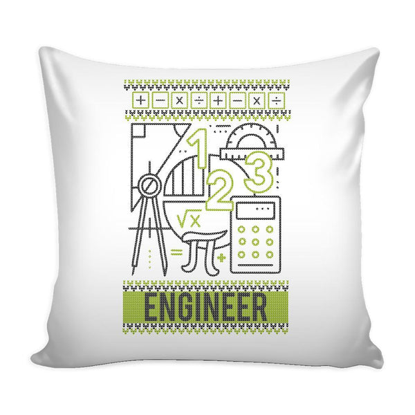Engineering Geek Nerd Engineer Festive Funny Ugly Christmas Holiday Sweater Decorative Throw Pillow Cases Cover(4 Colors)-Pillows-White-JoyHip.Com