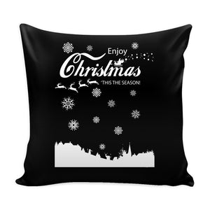Enjoy Christmas 'Tis The Season! Festive Funny Ugly Christmas Holiday Sweater Decorative Throw Pillow Cases Cover(4 Colors)-Pillows-Black-JoyHip.Com