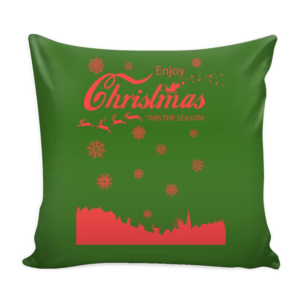 Enjoy Christmas 'Tis The Season! Festive Funny Ugly Christmas Holiday Sweater Decorative Throw Pillow Cases Cover(4 Colors)-Pillows-Green-JoyHip.Com