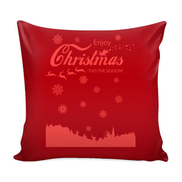 Enjoy Christmas 'Tis The Season! Festive Funny Ugly Christmas Holiday Sweater Decorative Throw Pillow Cases Cover(4 Colors)-Pillows-Red-JoyHip.Com