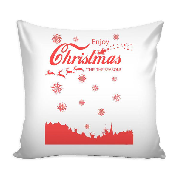 Enjoy Christmas 'Tis The Season! Festive Funny Ugly Christmas Holiday Sweater Decorative Throw Pillow Cases Cover(4 Colors)-Pillows-White-JoyHip.Com