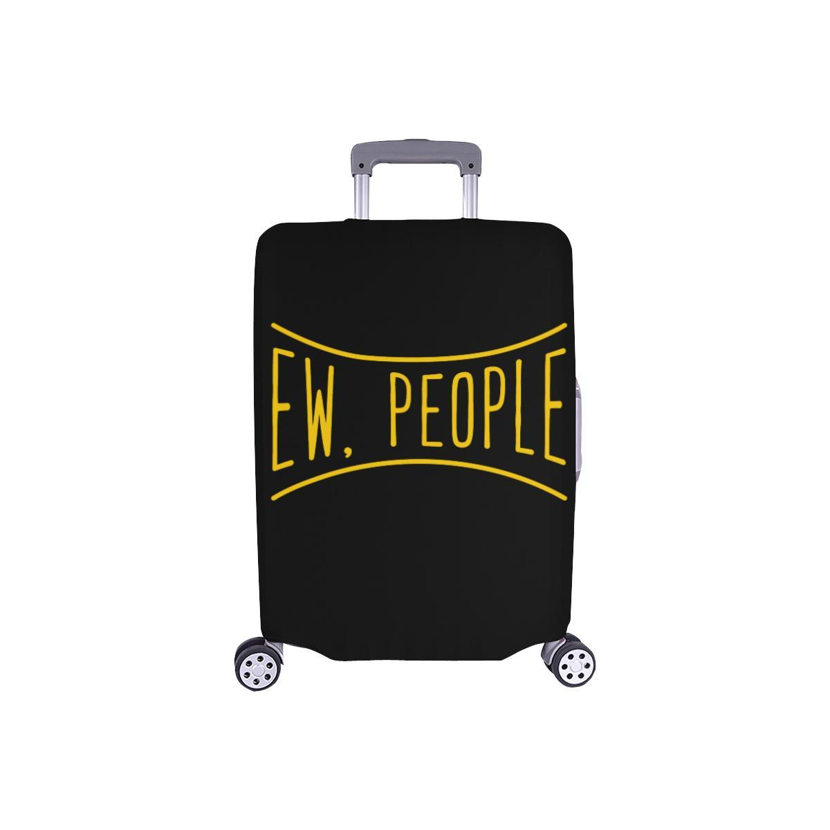 Ew People Funny Sarcasm Sarcastic Travel Luggage Cover Suitcase Protector-S-Black-JoyHip.Com