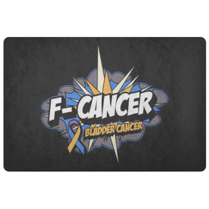 F-Cancer Bladder Cancer Awareness 18X26 Thin Indoor DoorMat Outdoor Entryway Rug-Doormat-Black-JoyHip.Com