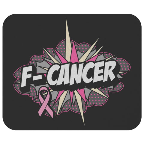 F-Cancer Breast Cancer Awareness Comfort Gifts For Chemo Patients Cute Mouse Pad-Mousepads-Black-JoyHip.Com