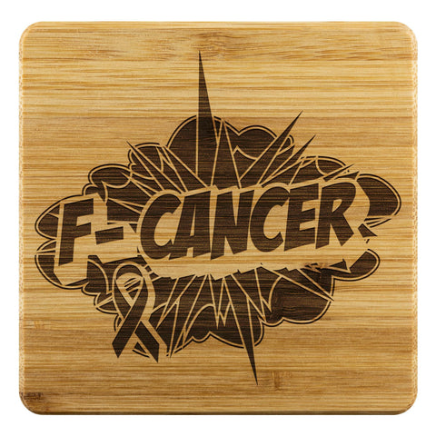 F-Cancer Breast Cancer Awareness Drink Coasters Set Gifts Idea-Coasters-Bamboo Coaster - 4pc-JoyHip.Com