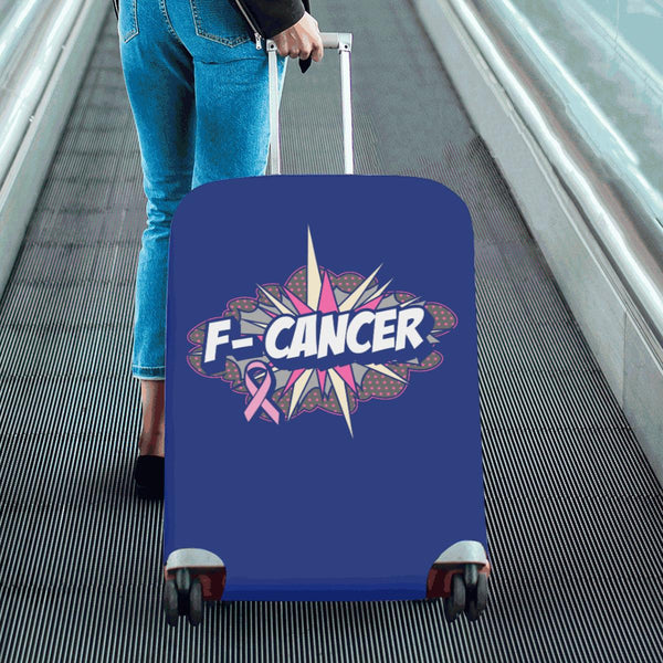F-Cancer Breast Cancer Awareness Travel Luggage Cover Suitcase Protector Baggage-JoyHip.Com