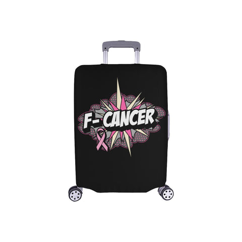F-Cancer Breast Cancer Awareness Travel Luggage Cover Suitcase Protector Baggage-S-Black-JoyHip.Com