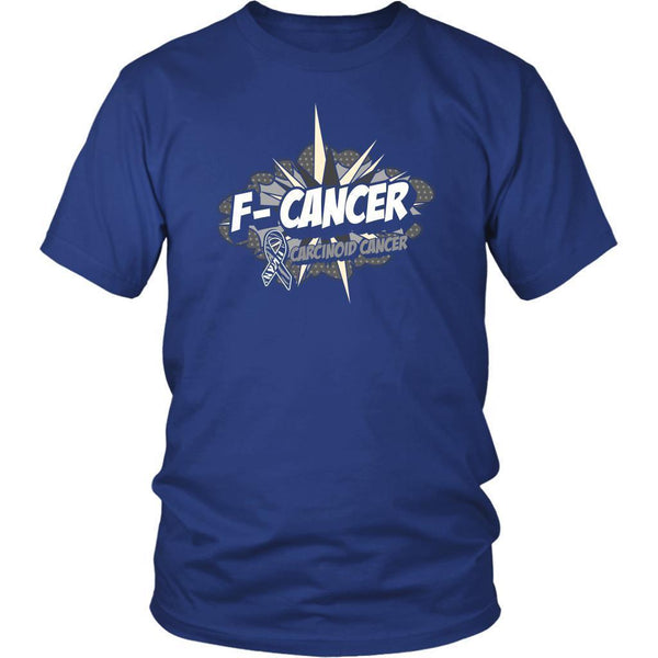F-Cancer Carcinoid Cancer Awareness Zebra Stripe Ribbon Cool Gift Ideas TShirt-T-shirt-District Unisex Shirt-Royal Blue-JoyHip.Com