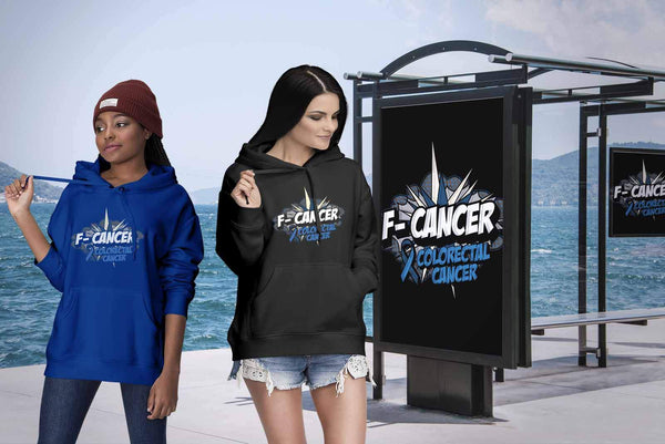 F-Cancer Colorectal Cancer Awareness Blue Ribbon Cool Gift Ideas Hoodie-T-shirt-JoyHip.Com