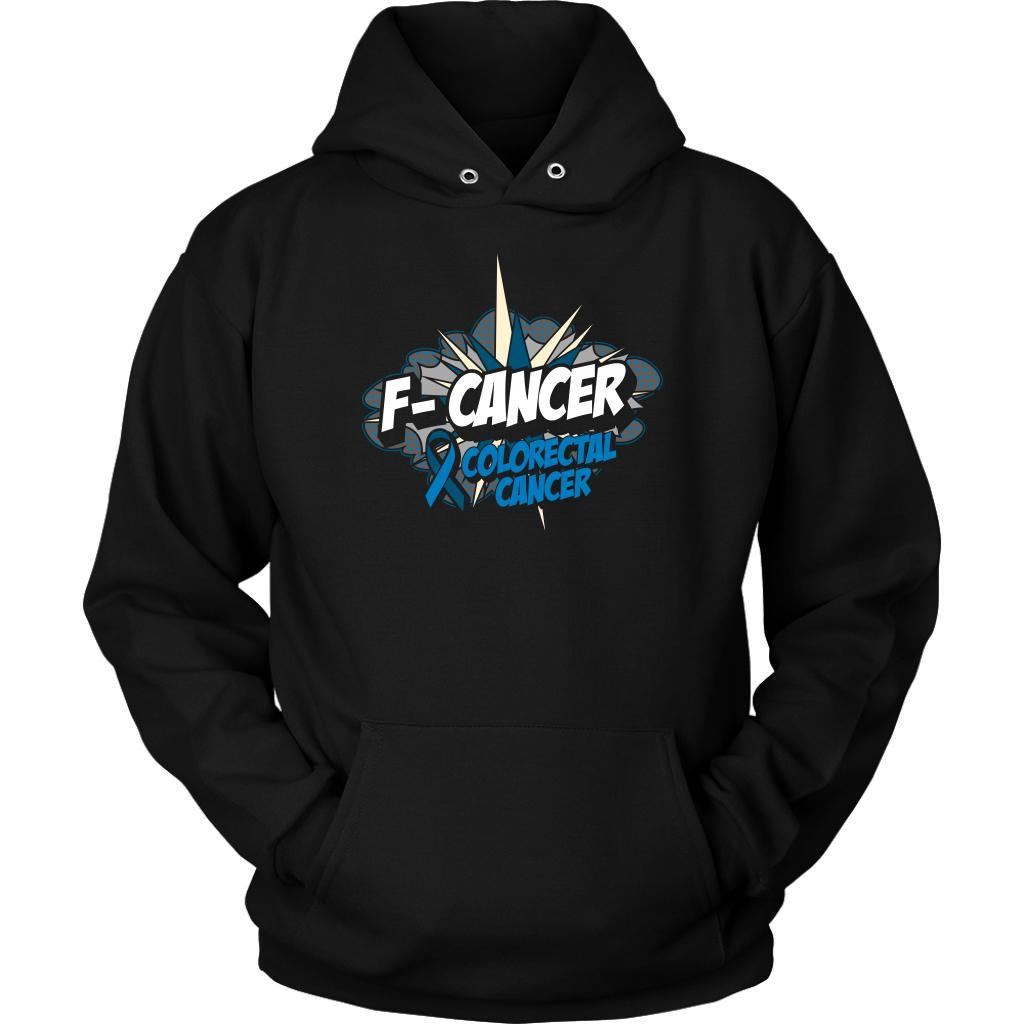 F-Cancer Colorectal Cancer Awareness Blue Ribbon Cool Gift Ideas Hoodie-T-shirt-Unisex Hoodie-Black-JoyHip.Com