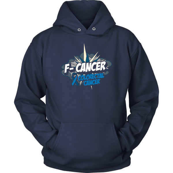 F-Cancer Colorectal Cancer Awareness Blue Ribbon Cool Gift Ideas Hoodie-T-shirt-Unisex Hoodie-Navy-JoyHip.Com