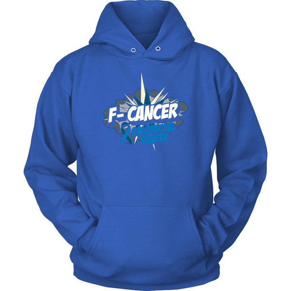 F-Cancer Colorectal Cancer Awareness Blue Ribbon Cool Gift Ideas Hoodie-T-shirt-Unisex Hoodie-Royal Blue-JoyHip.Com