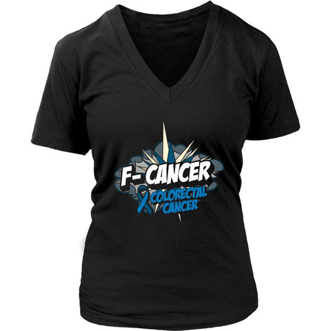 F-Cancer Colorectal Cancer Awareness Blue Ribbon Cool Gift VNeck TShirt-T-shirt-District Womens V-Neck-Black-JoyHip.Com