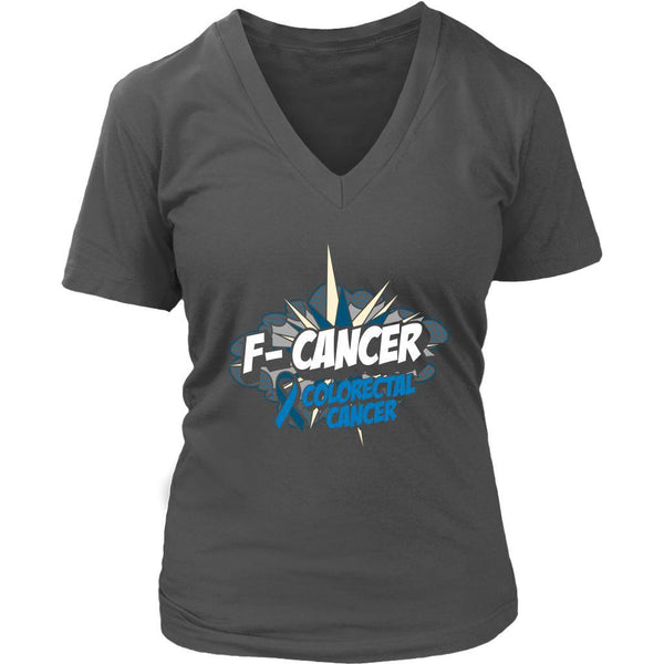 F-Cancer Colorectal Cancer Awareness Blue Ribbon Cool Gift VNeck TShirt-T-shirt-District Womens V-Neck-Grey-JoyHip.Com