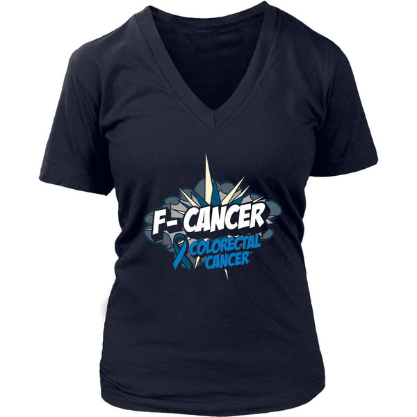 F-Cancer Colorectal Cancer Awareness Blue Ribbon Cool Gift VNeck TShirt-T-shirt-District Womens V-Neck-Navy-JoyHip.Com