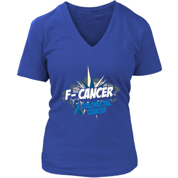 F-Cancer Colorectal Cancer Awareness Blue Ribbon Cool Gift VNeck TShirt-T-shirt-District Womens V-Neck-Royal Blue-JoyHip.Com