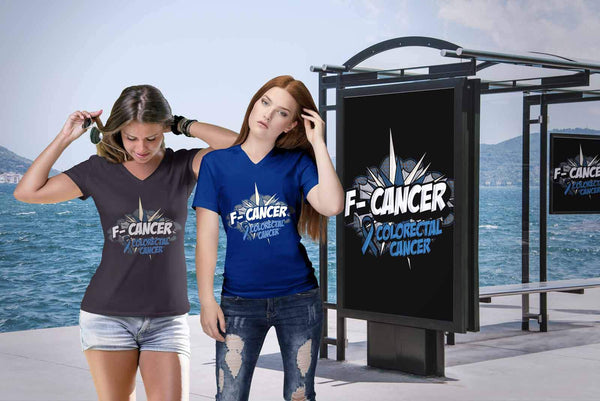 F-Cancer Colorectal Cancer Awareness Blue Ribbon Cool Gift VNeck TShirt-T-shirt-JoyHip.Com