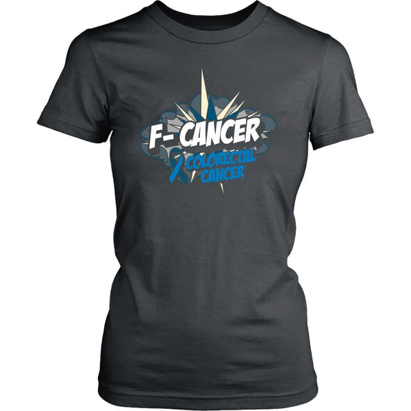F-Cancer Colorectal Cancer Awareness Blue Ribbon Cool Gift Women TShirt-T-shirt-District Womens Shirt-Grey-JoyHip.Com