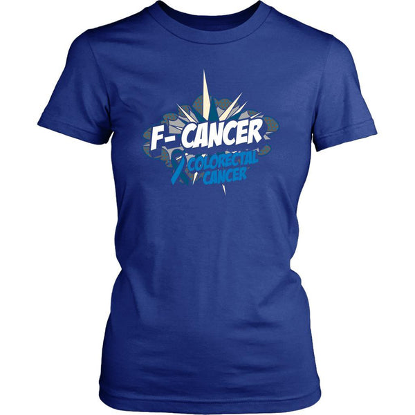 F-Cancer Colorectal Cancer Awareness Blue Ribbon Cool Gift Women TShirt-T-shirt-District Womens Shirt-Royal Blue-JoyHip.Com