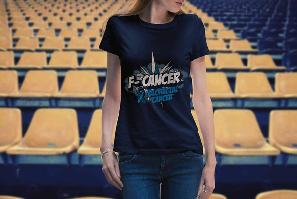 F-Cancer Colorectal Cancer Awareness Blue Ribbon Cool Gift Women TShirt-T-shirt-JoyHip.Com