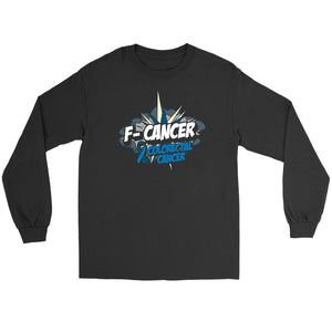 F-Cancer Colorectal Cancer Awareness Blue Ribbon Gift Idea Long Sleeve Shirt-T-shirt-Gildan Long Sleeve Tee-Black-JoyHip.Com