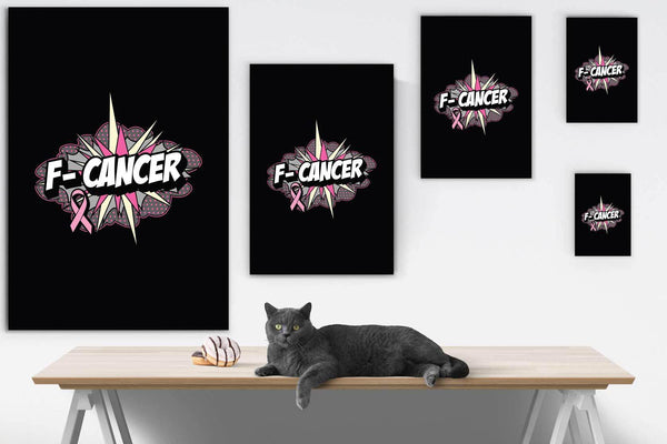 F-Cancer Cute Breast Cancer Awareness Canvas Wall Art Room Decor Home Gift Ideas-Canvas Wall Art 2-JoyHip.Com