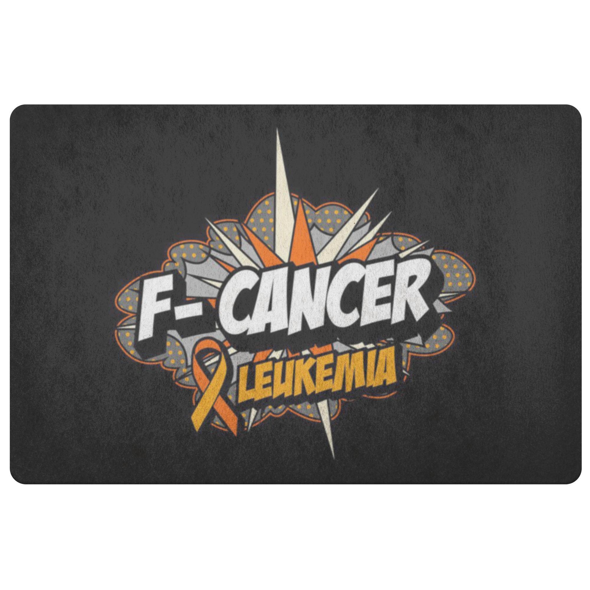 F-Cancer Leukemia Cancer Awareness 18X26 Thin Indoor Door Mat Outdoor Entry Rug-Doormat-Black-JoyHip.Com