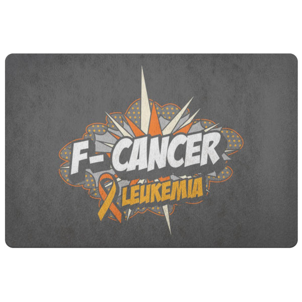 F-Cancer Leukemia Cancer Awareness 18X26 Thin Indoor Door Mat Outdoor Entry Rug-Doormat-Grey-JoyHip.Com