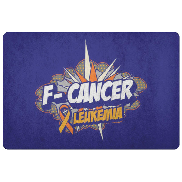 F-Cancer Leukemia Cancer Awareness 18X26 Thin Indoor Door Mat Outdoor Entry Rug-Doormat-Navy-JoyHip.Com