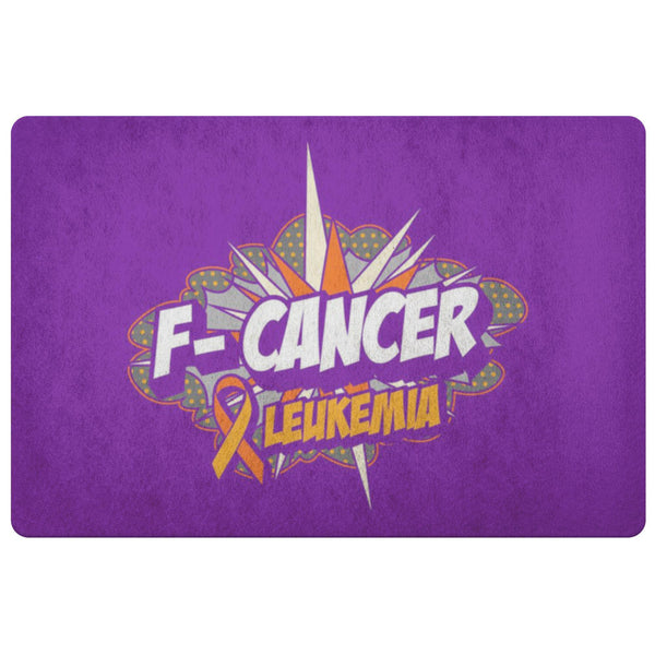 F-Cancer Leukemia Cancer Awareness 18X26 Thin Indoor Door Mat Outdoor Entry Rug-Doormat-Purple-JoyHip.Com