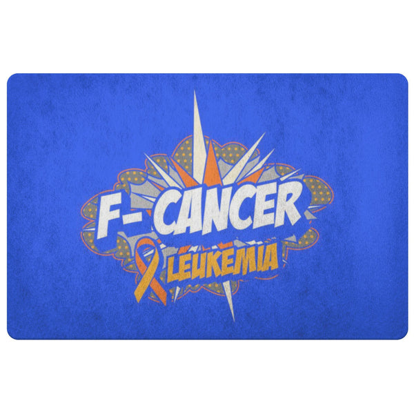 F-Cancer Leukemia Cancer Awareness 18X26 Thin Indoor Door Mat Outdoor Entry Rug-Doormat-Royal Blue-JoyHip.Com